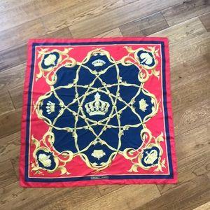 RARE vintage HERMÈS crown scarf 1960s,  100% silk
